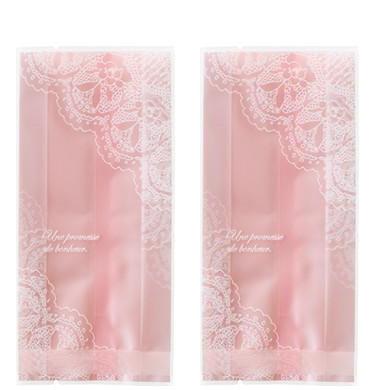 ถุงเบเกอรี่ แบบจีบข้าง สีชมพู 100 ใบ/ห่อ (Size : 15*7+3 cm)