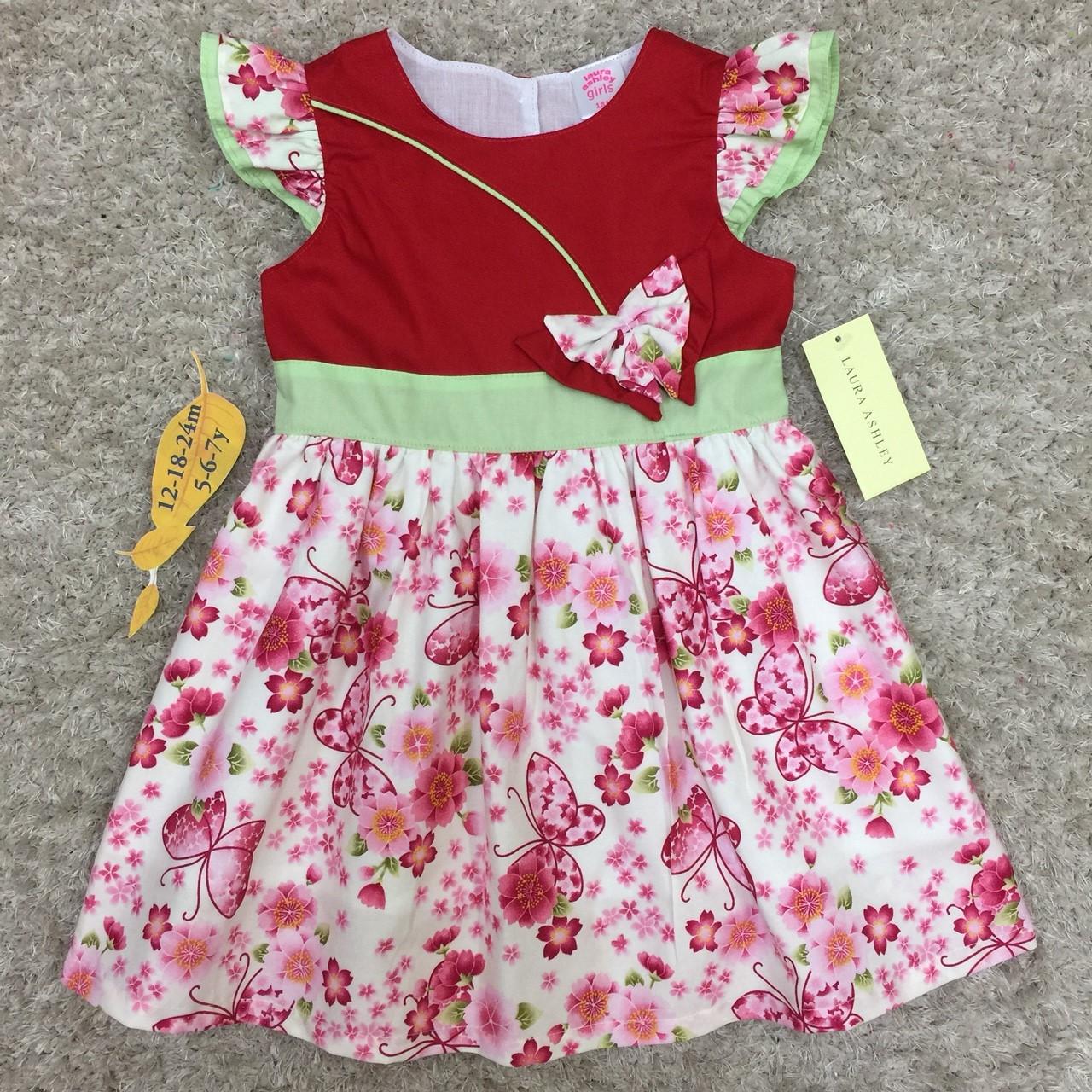 เสื้อผ้าเด็ก 5-7ปี size 5Y-6Y-7Y ลายดอกไม้ แต่งผีเสื้อ สีแดง