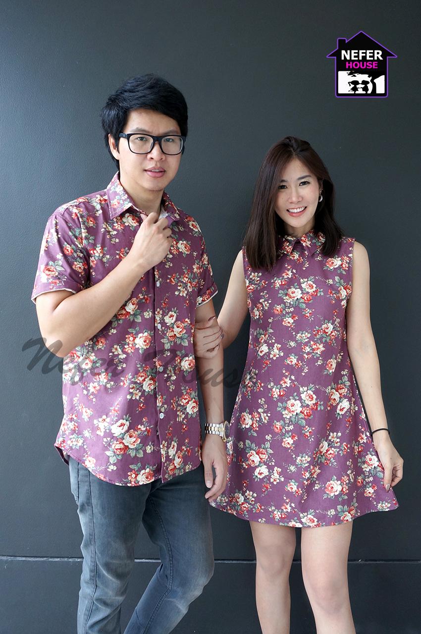 เสื้อคู่ชุดไปทะเลลายดอกสีม่วง