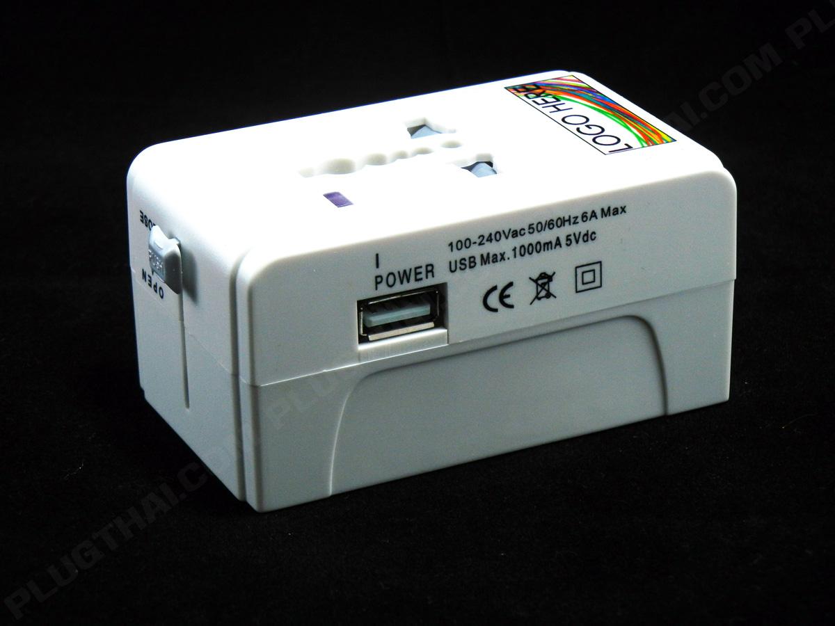 ปลั๊กเดินทางต่างประเทศ + USB พร้อมรับสกรีนลงบนตัวสินค้า Entry Grade (รุ่นถูก)