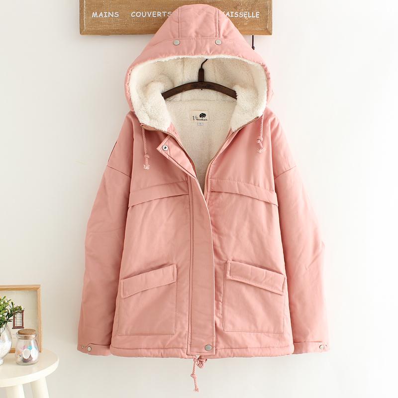 fashion เสื้อกันหนาว ขนมิ้น ผ้านุ่ม สีชมพู (รอสินค้า15-20วัน)
