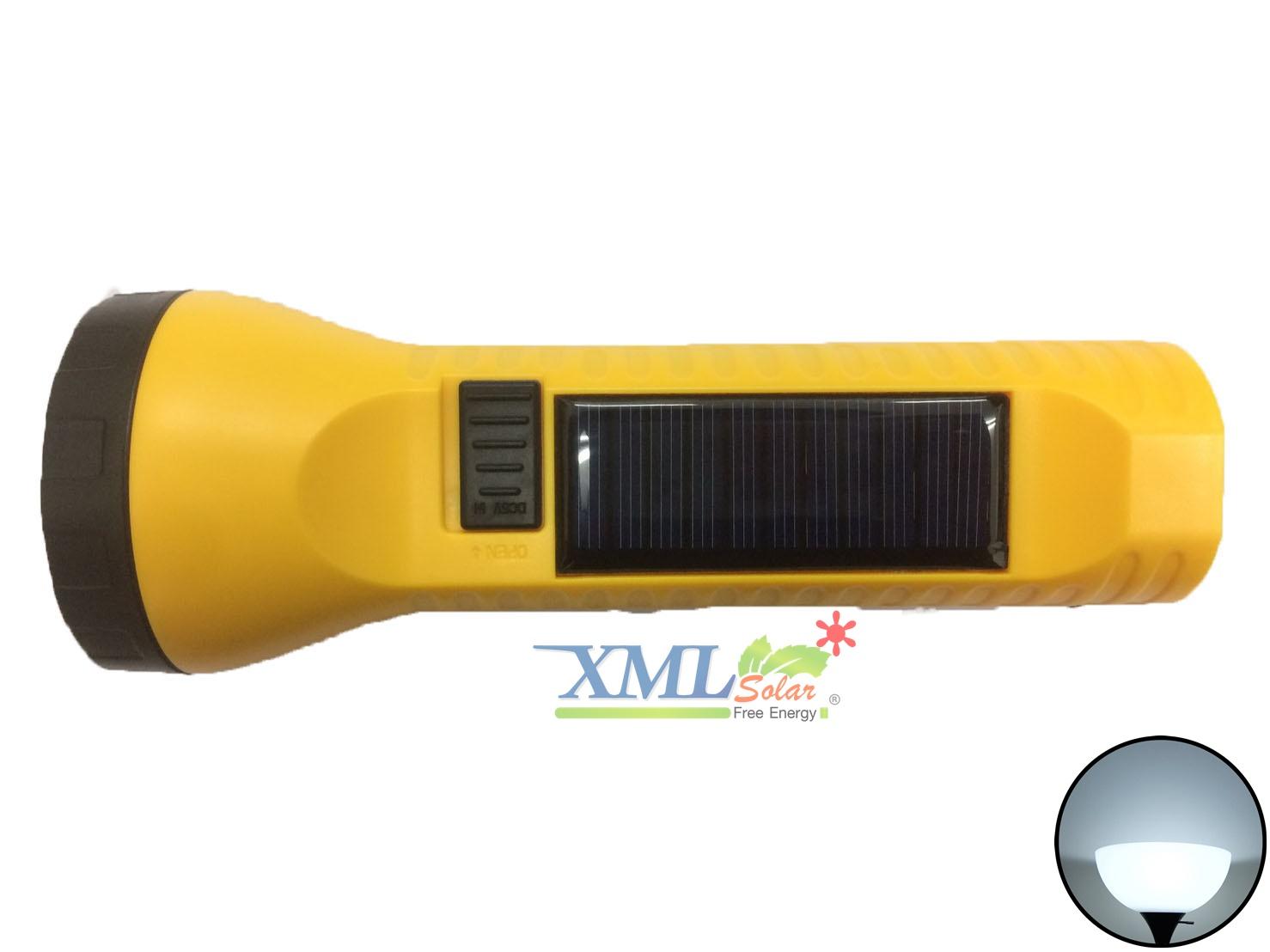 ไฟฉายโซล่าเซลล์อเนกประสงค์ 2 LED สีเหลือง (เเสง : สีขาว)