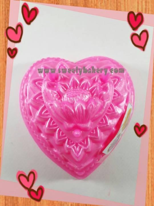 พิมพ์วุ้น สองชั้นรูปหัวใจ ลายดอกไม้ เบอร์ 6