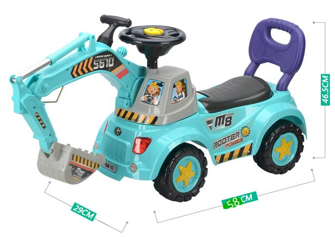 รถส่งฟรี !! รถขาไถ...แมคโครตักดินแบบนั่งได้ มีสีฟ้า