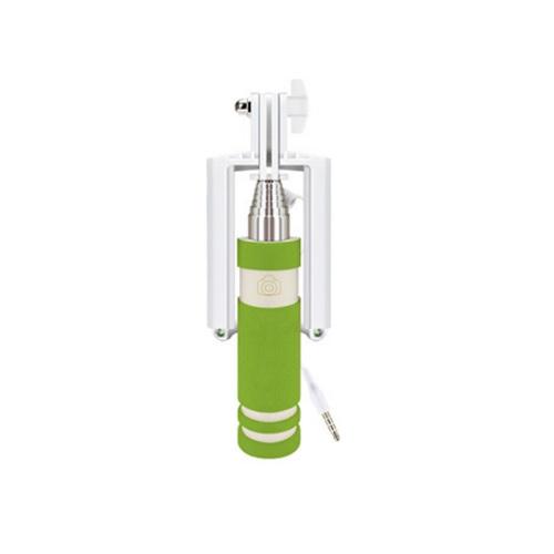 mini monopodไม้เซลฟี่พร้อมปุ่มชัตเตอร์เพื่อถ่ายในตัว สีเขียว