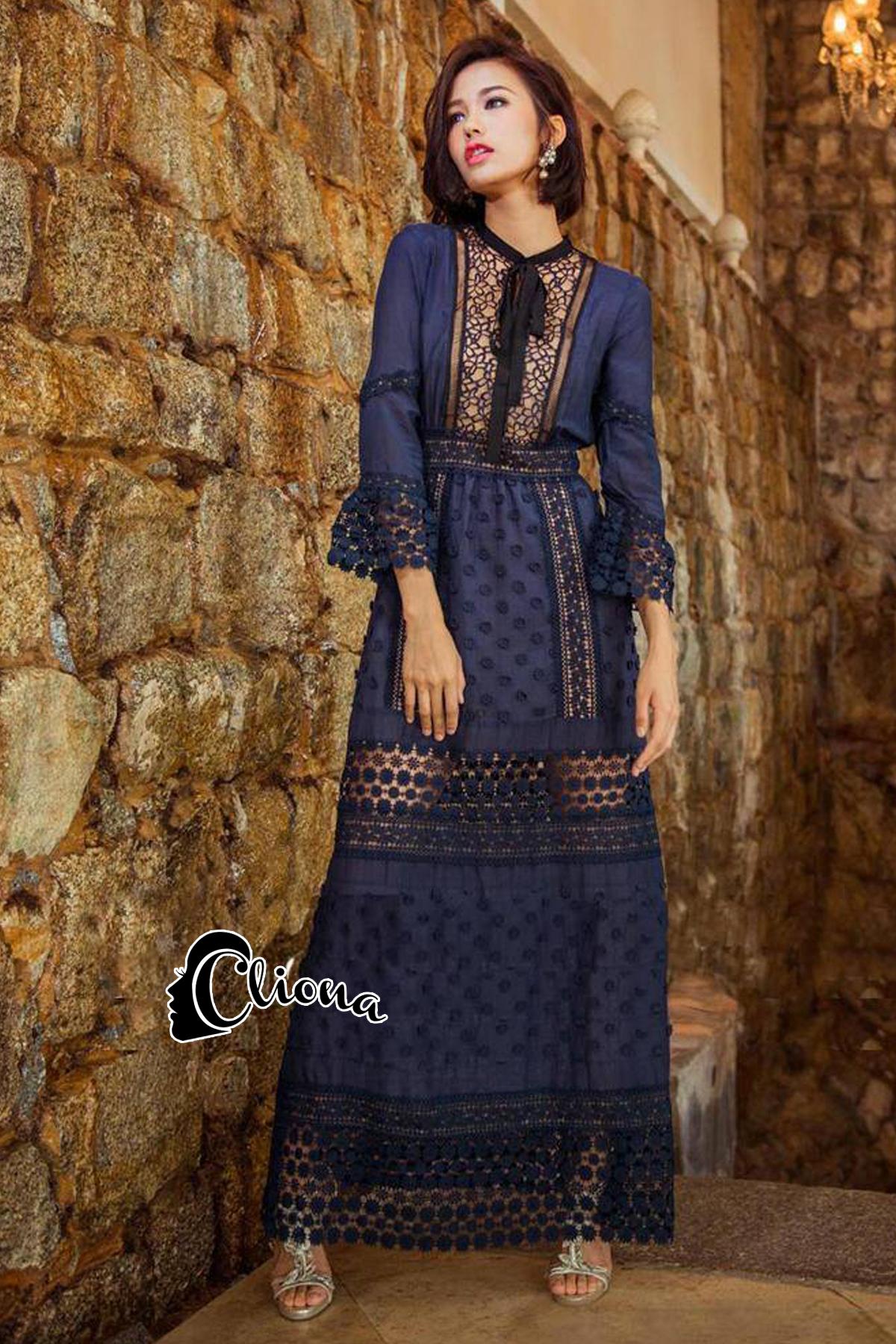 Self P Stylish Luxury Long Lace Dress