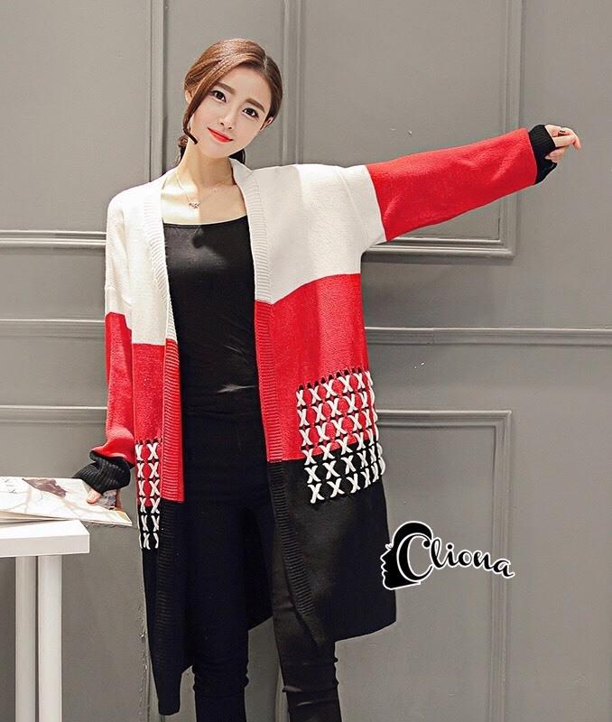 เสื้อผ้าเกาหลีพร้อมส่ง เสื้อคลุมตัวยาวงานไหมพรม cardigan ทอไล่สีขาว แดง ดำ