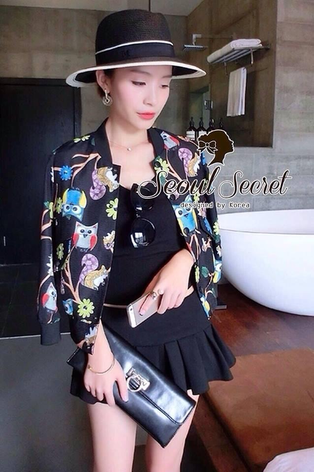 ( พร้อมส่งเสื้อผ้าเกาหลี) Jacket ลายพิมพ์สวยมากคะ เป็นลายพิมพ์ลายนกฮูก สีสันผสมผสานกันออกมาได้สวยมากๆ มีเทคนิคการพิมพ์แบบสีวาดดูมีมิติ