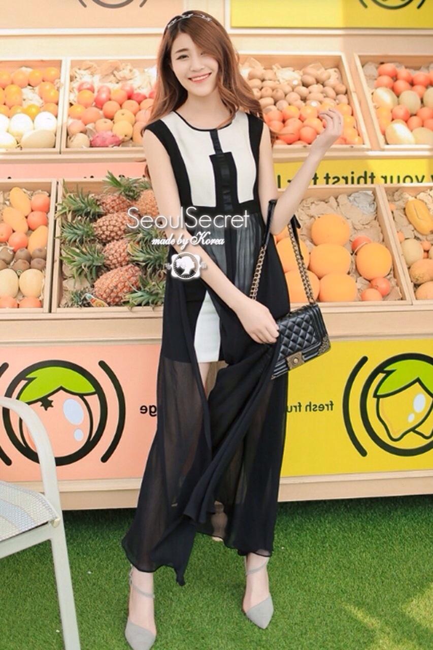 Elegant Stitch Black&White Long Dress