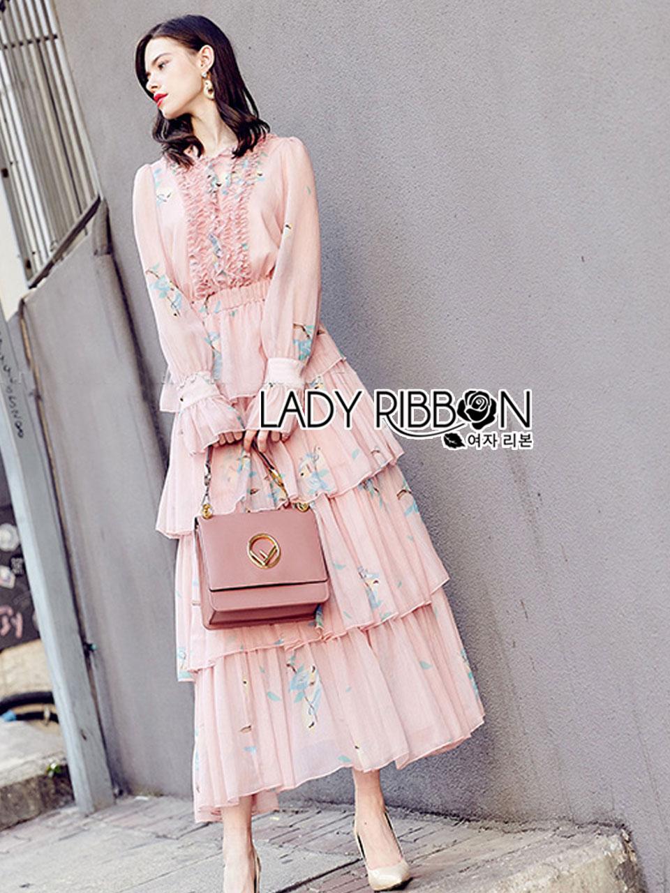 Jill Printed Layered Pink Chiffon Dress