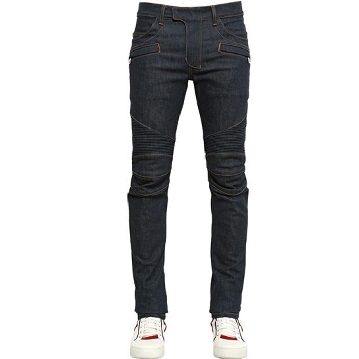 กางเกงยีนส์ฺBalmain Blue Raw Denim Contrast Stitch Biker Jeans