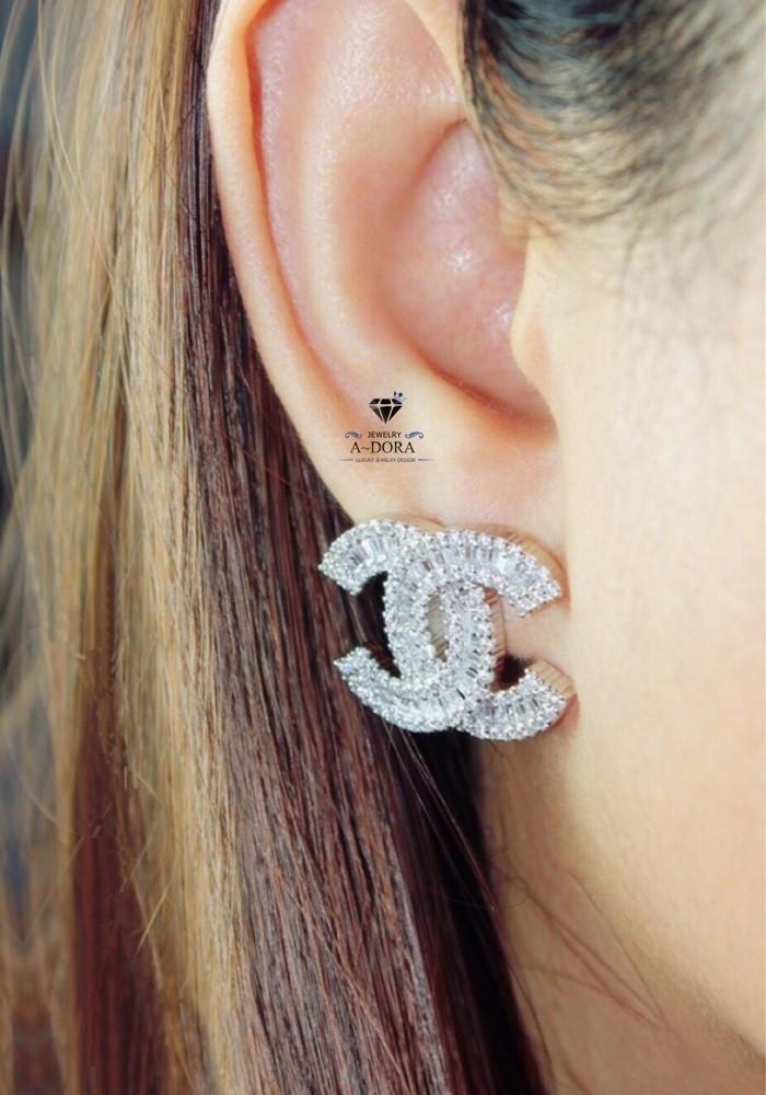 พร้อมส่ง Chanel Earing งานเพชร CZ แท้ งานสวยสุดๆ