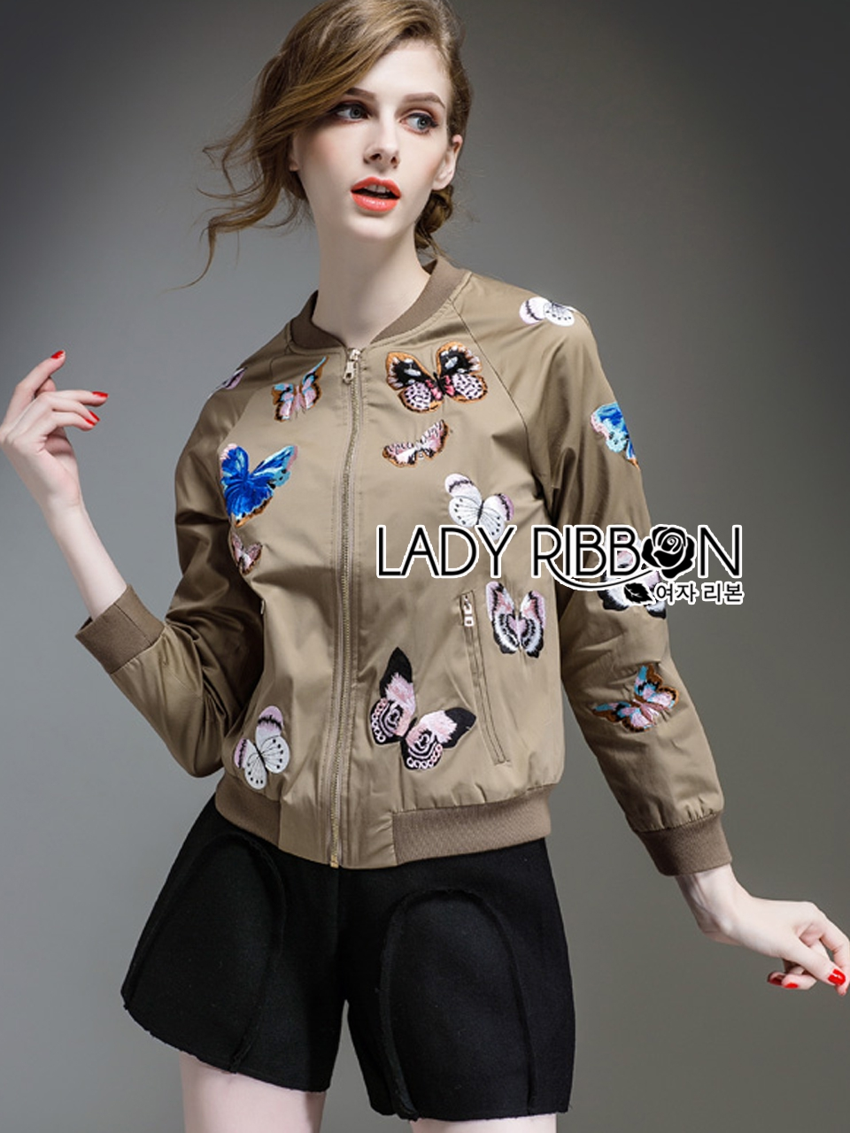 Sally Sporty Butterfly Embroidered Nylon Bomber Jacket