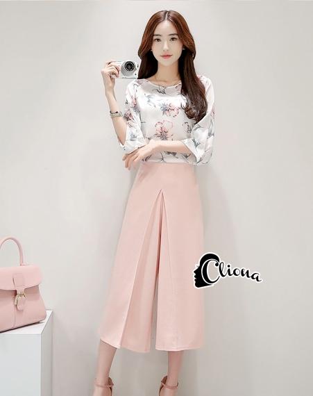 เสื้อผ้าเกาหลี พร้อมส่ง Pinky Camelia Cute Set