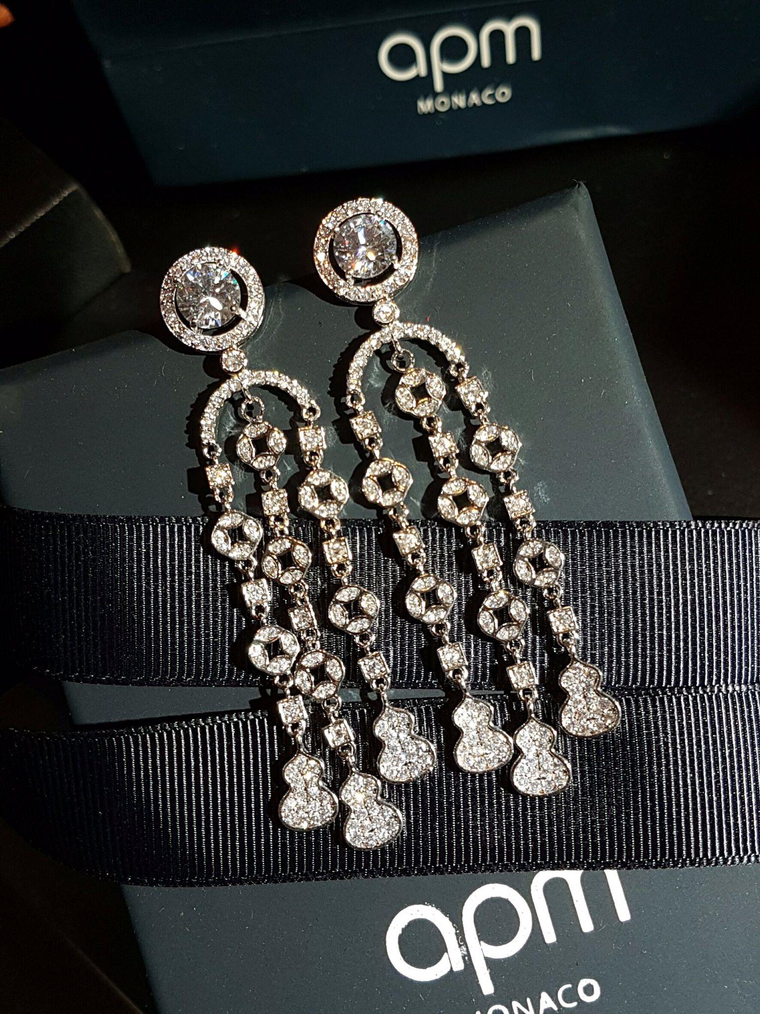 พร้อมส่ง Apm long diamond earring งานเกรดแพงที่สุดฝังแบบMircosetting