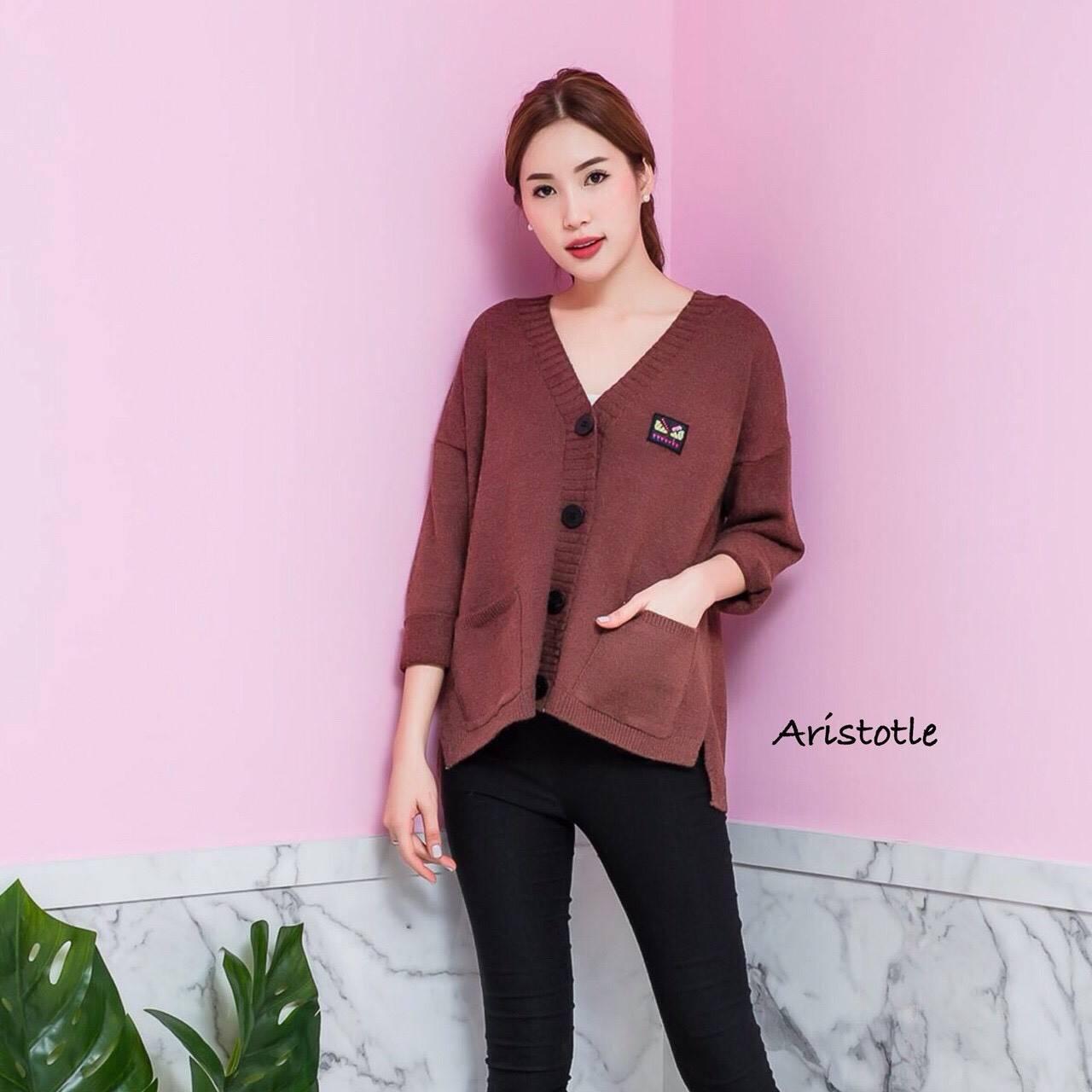 เสื้อผ้าเกาหลีพร้อมส่ง Pant knit กางเกงขายาวผ้าไหมพรมแต่งแถบข้าง