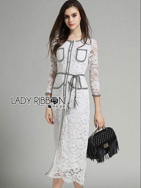 Leslie Smart Elegant White Lace Dress with Ribbon