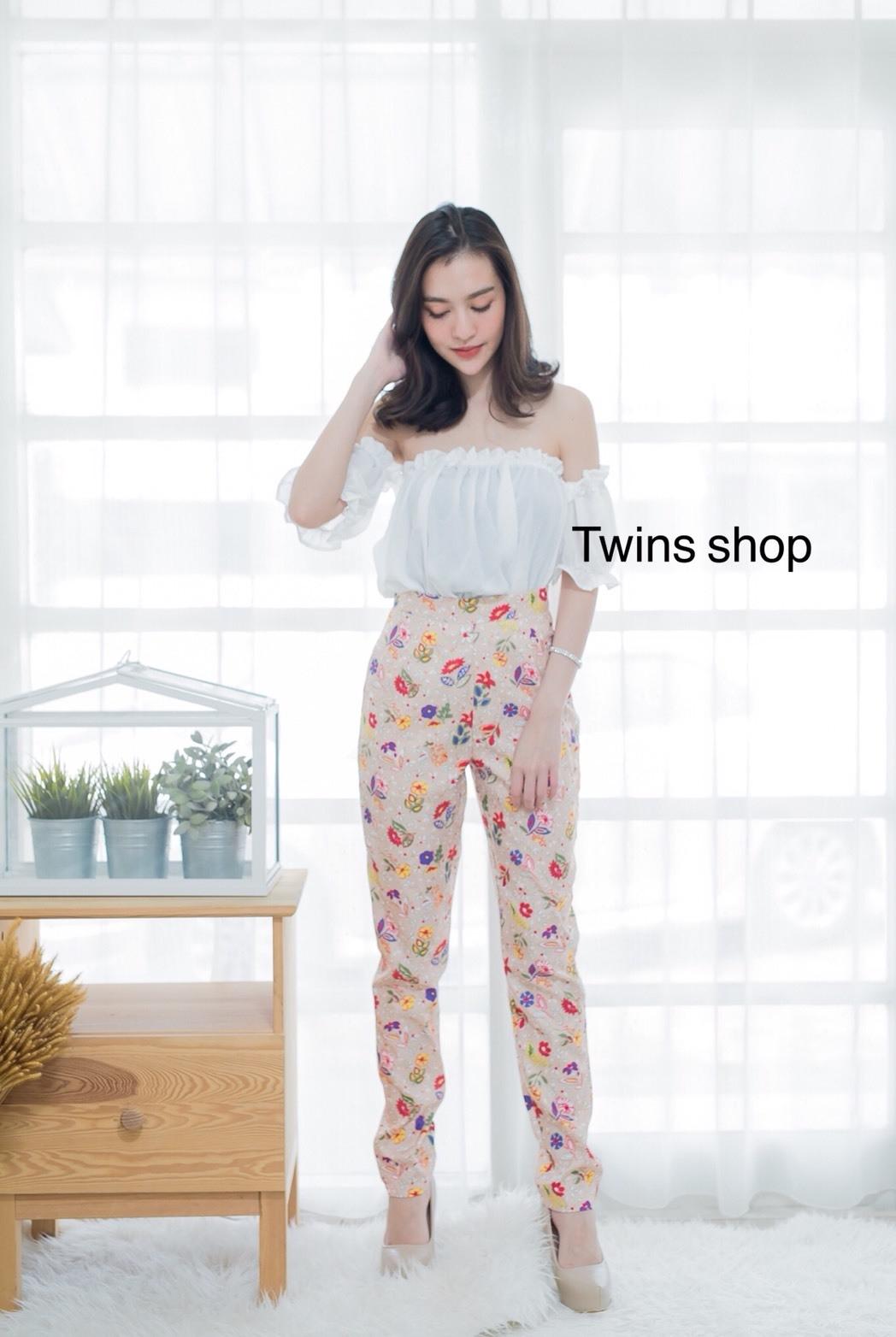 Set เสื้อปาดไหล่+กางเกงเอวสูงขายาว