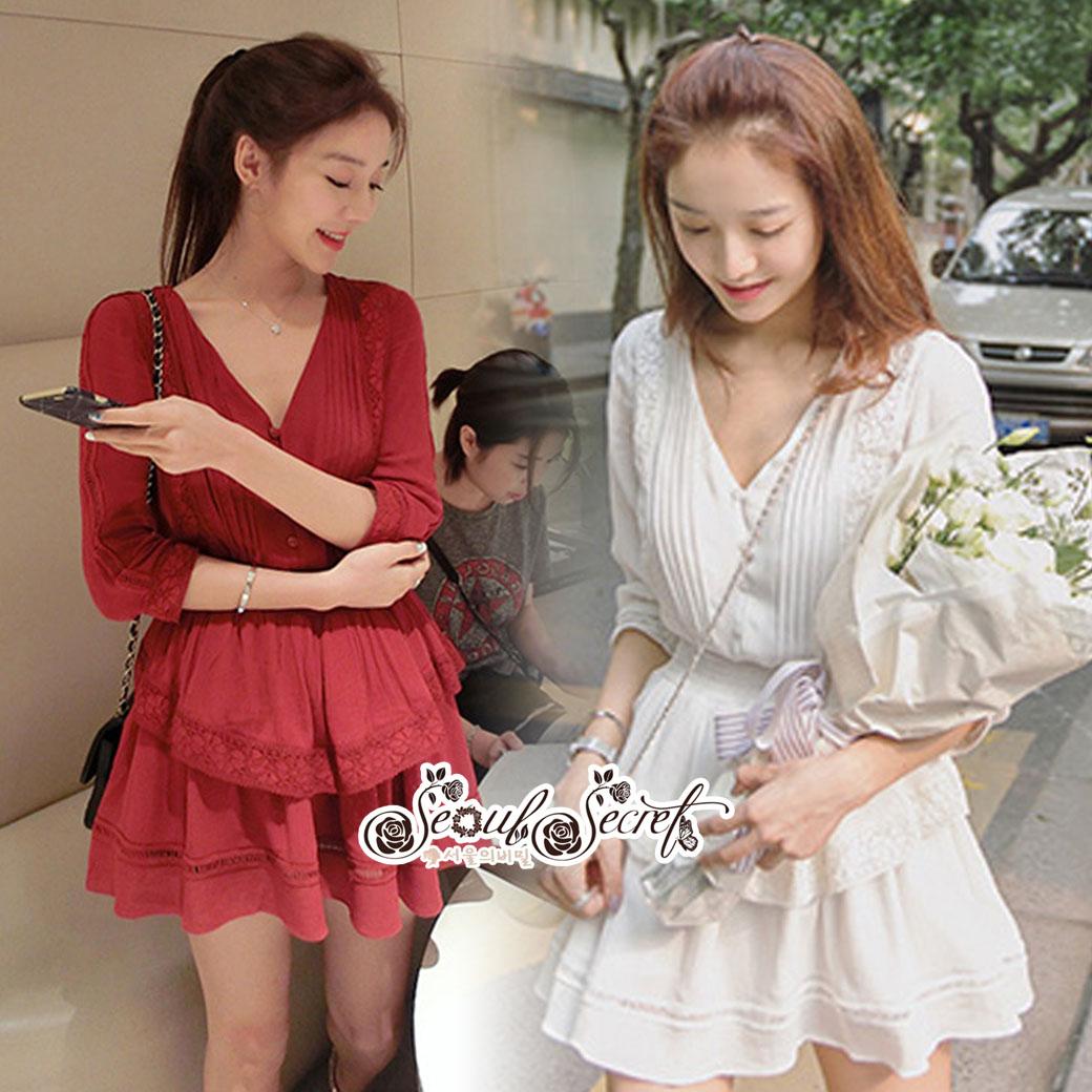 Mini Layered Dress Red Blood&White Classic Lace hem