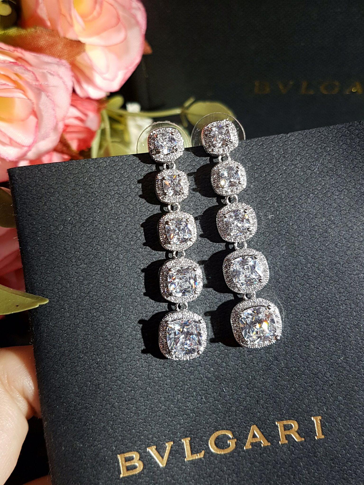 พร้อมส่ง long diamond earring งานเกรดแพงสวยที่สุดฝังแบบMircosetting งานฝังแน่นละเอียดมาก