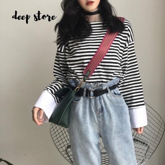 เสื้อผ้าเกาหลีพร้อมส่ง เสื้อคอกลม แขนยาว ลาย Stripe
