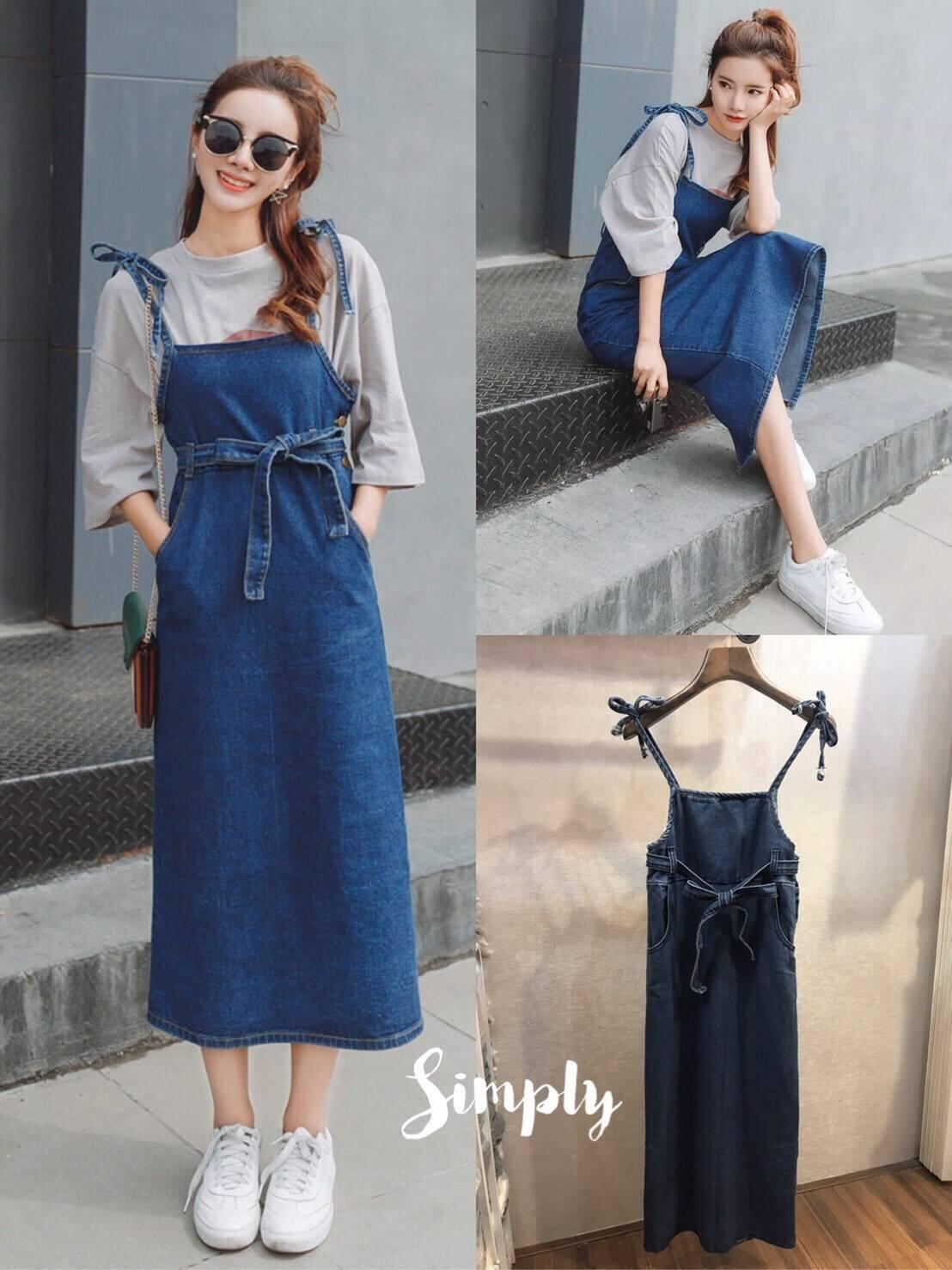 เสื้อผ้าแฟชั่นเกาหลีพร้อมส่งเอี้ยมกระโปรง มีเชือกผูกเอว