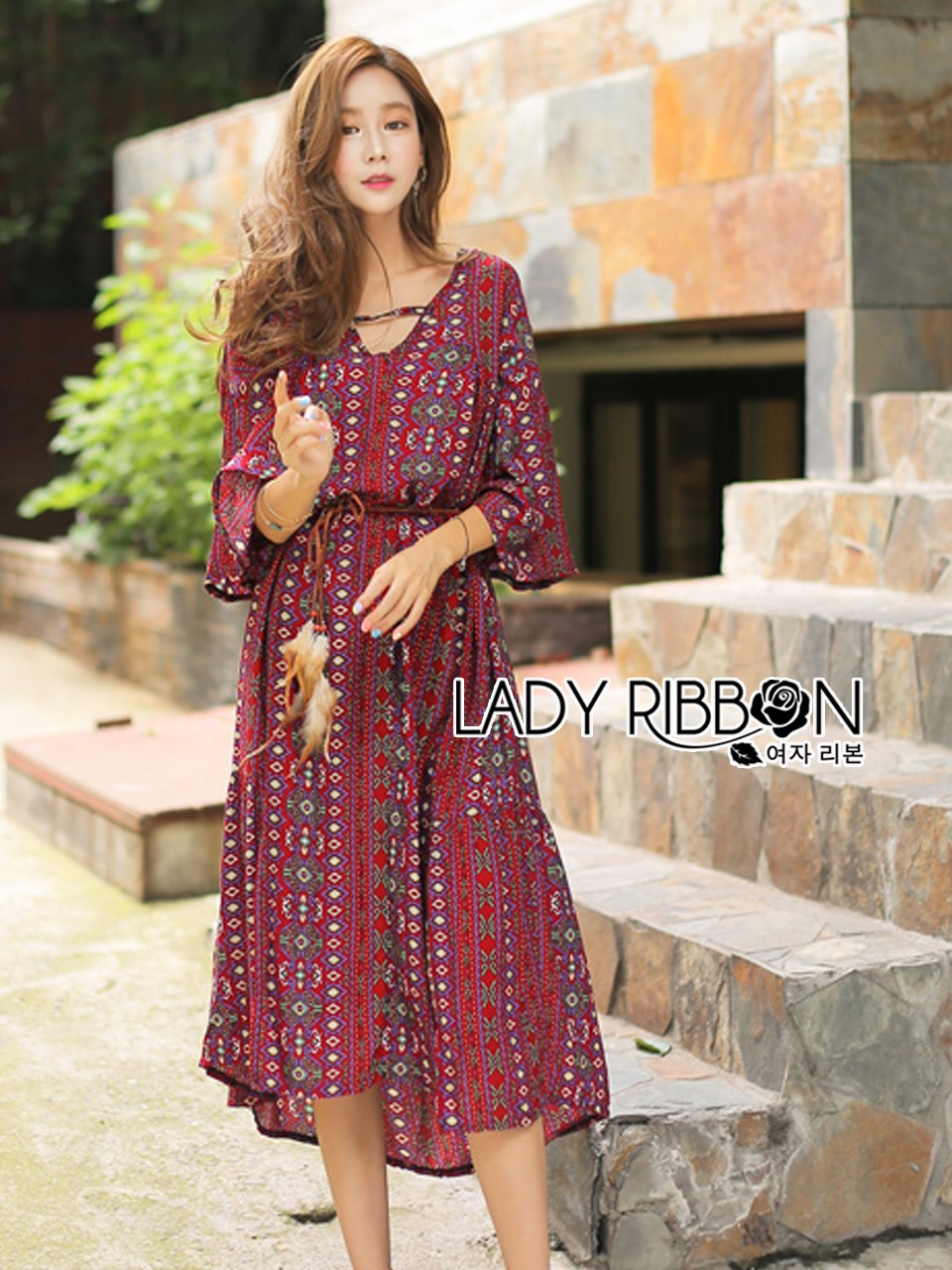 Kay Casual Bohemian Printed Flared-Sleeve Dress with Feather Belt