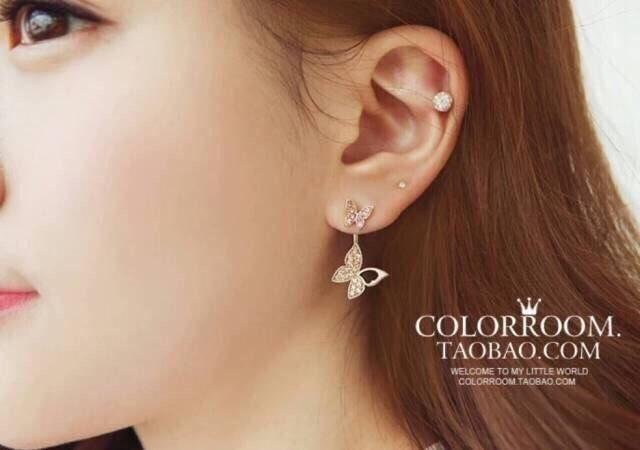 ต่างหูผีเสิ้อ เพชรงานดีไซส์หรูหรา เพชร CZ ราคา 890฿ Made in korea