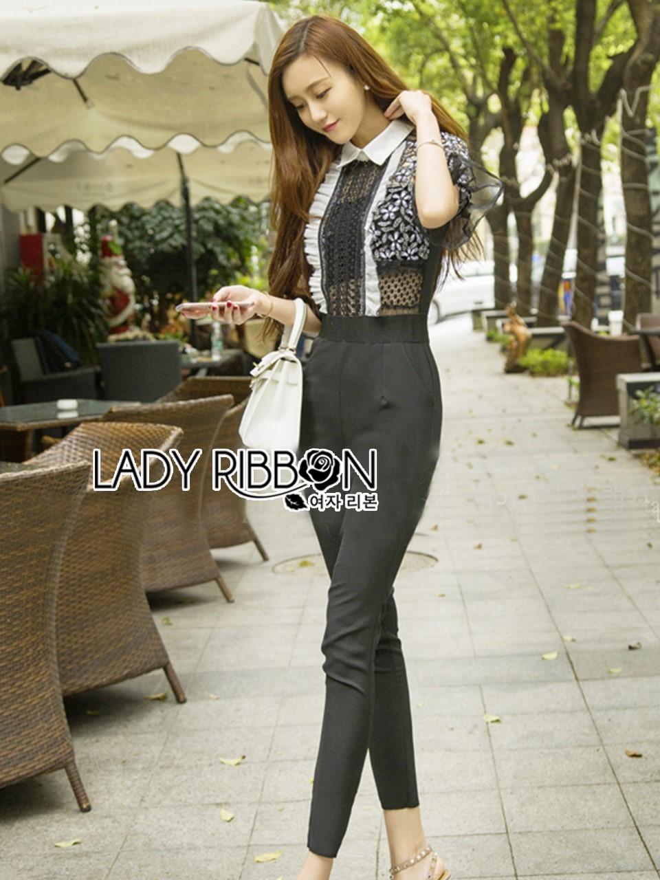 Babara Smart Casual Black & White Ruffle Lace Jumpsuit