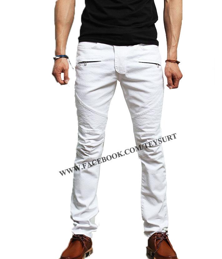 กางเกงBalmain Jeans Skinny White Cottton Biker