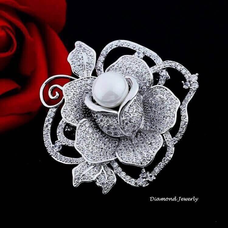 พร้อมส่ง เข็มกลัดดอกกุหลาบประดับมุก