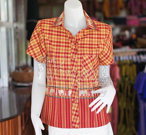 เสื้อผ้าทอลายช้างปกเชิ้ต สีแดงเหลือง ไซส์ 2XL