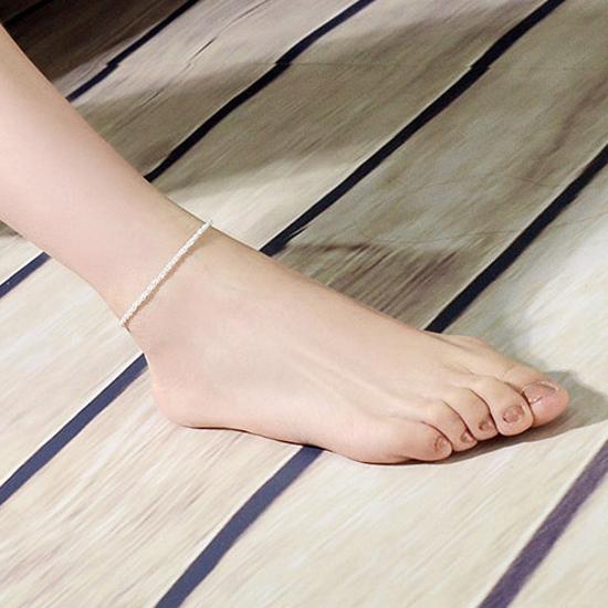 สร้อยข้อเท้าเกาหลีเกลียวพันแบบสปริงสีเงิน