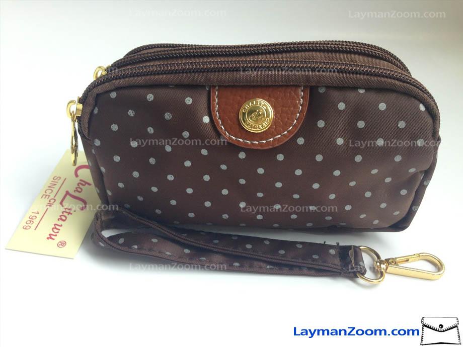 กระเป๋าถือ+สายข้อมือ Chalita wu สีน้ำตาลลายจุด