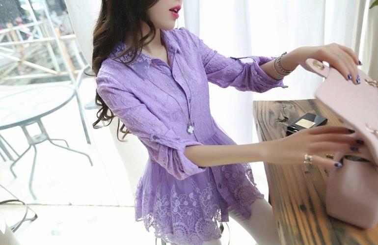 เสื้อเชิ้ตลูกไม้จั้มเอวชายระบายพองลูกไม้ สีม่วง(Purple)