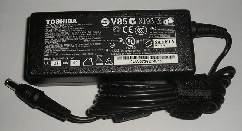 Adapter/ที่ชาร์จโน๊ตบุ๊ต /Toshiba 19V 3.42A 65W /ของแท้ประกันศูนย์ Toshiba