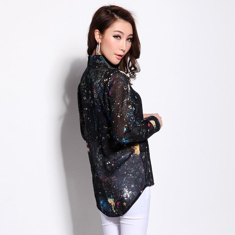 เสื้อเชิ้ตชีฟอง พิมพ์ลายกาแล็กซี่