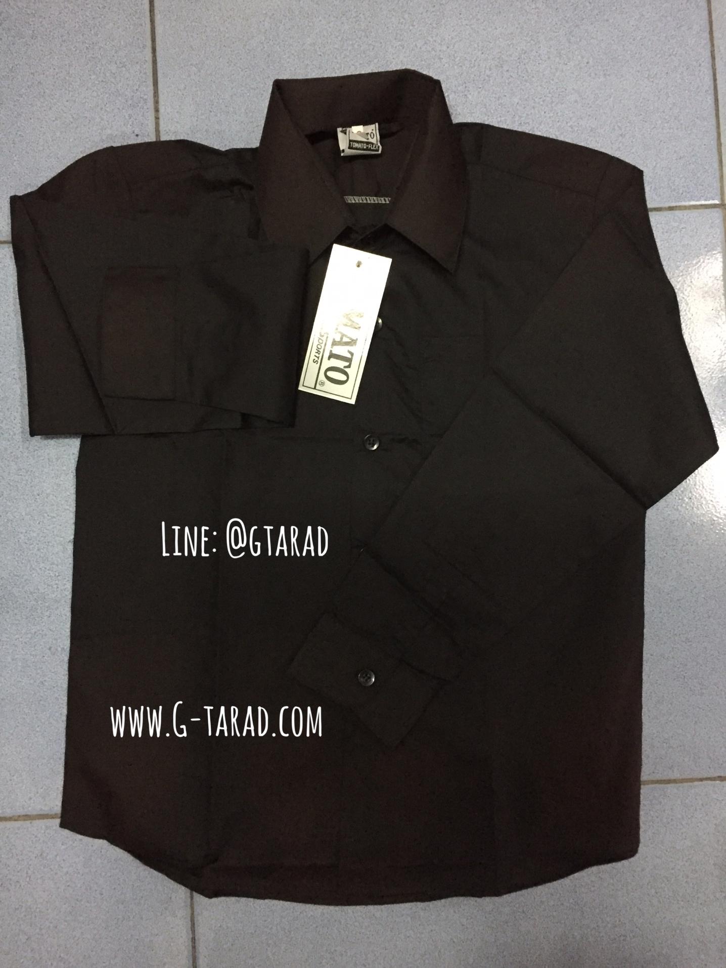 เสื้อเชิ๊ตแขนยาว สีดำ เด็ก