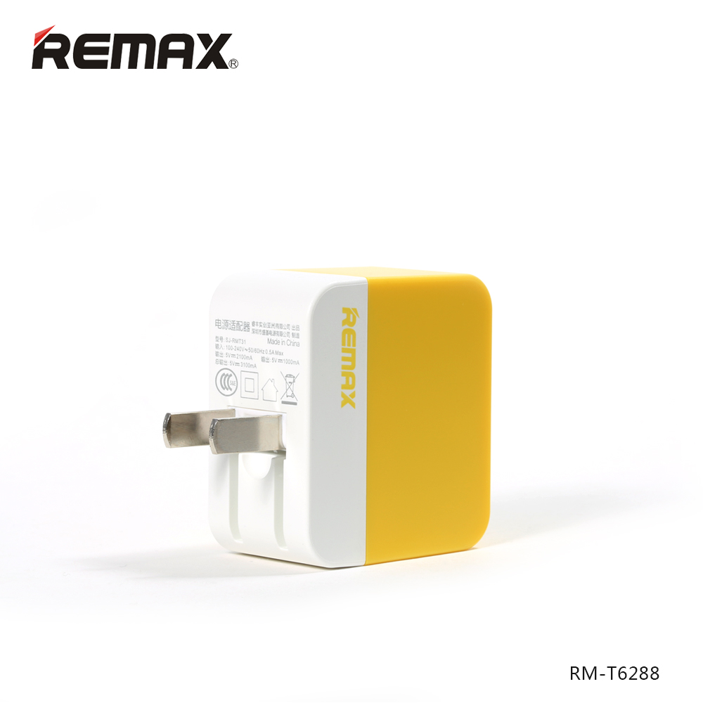 ที่ชาร์จไฟ 2 USB REMAX Charger 3.1A Pastel - Yellow เหลือง