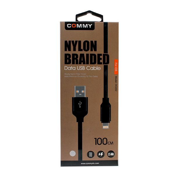 สายชาร์จ Iphone Commy Nylon Lightning (Black)