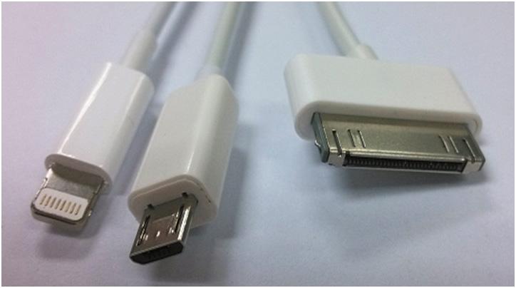 สายชาร์ท แอปเปิ้ล 3 หัว ( USB 3 in 1 ) ซื้อ 1 แถม 1