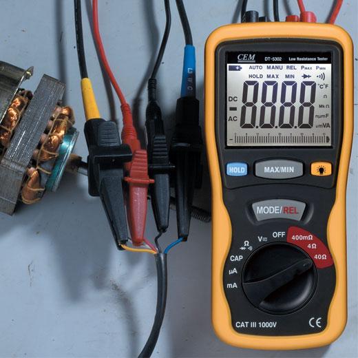 Milliohm Meter Tester Digital High-Accuracy Kelvin 4-Wires CEM DT-5302