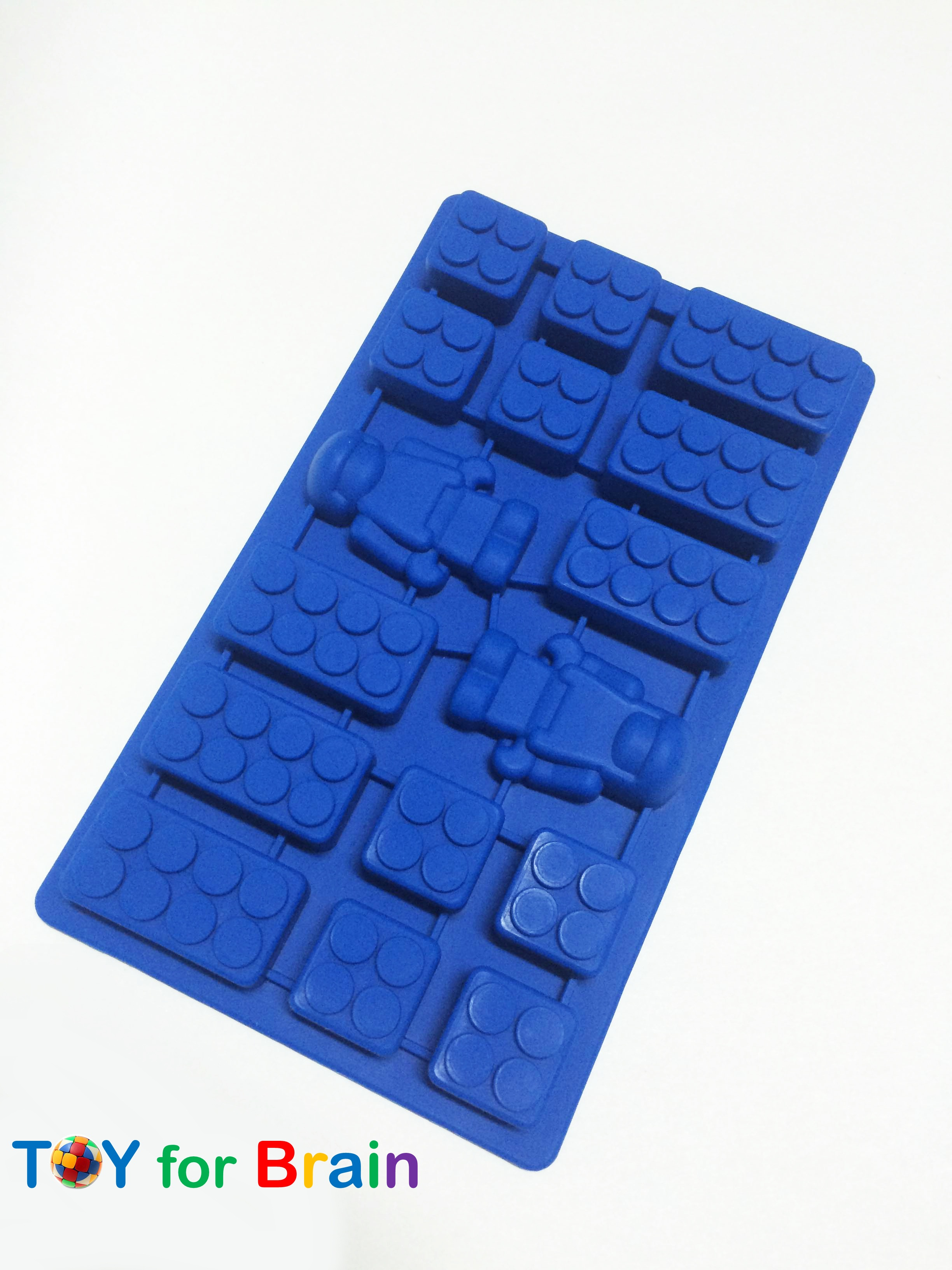 Lego Bricks Robot Mini Man Silicone Ice Tray สีน้ำเงิน