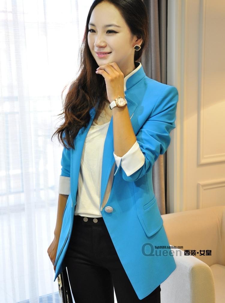 เสื้อสูทแฟชั่น พร้อมส่ง แขนยาวแต่งแขนพับ เข้ารูป สีฟ้า คอปก แต่งขลิบสีขาวเก๋ๆ งานสวยดีไซน์เก๋มากๆ มี SIZE S,M,L
