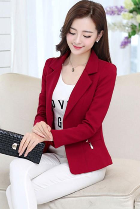เสื้อสูทแฟชั่น เสื้อสูททำงาน พร้อมส่ง สีแดง เนื้อผ้าคอตตอน 100% ค่อนข้างหนา เนื้อดี มีความยืดหยุ่นได้ดีค่ะ งานเนี๊ยบ คัตติ้งสวยสุดๆ
