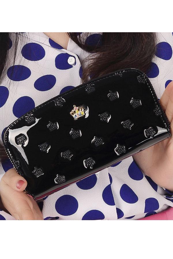 กระเป๋าสตางค์แฟชั่น KQUEENSTAR พร้อมส่ง สีดำ ใบยาว DESIGN สุดเก๋ ลายมงกุฎ ปิดเปิดด้วยซิบรูด สวยหรู