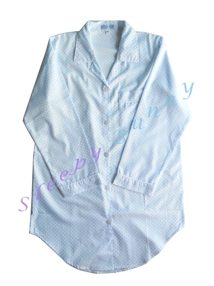 ขายแล้วค่ะ ds35 ชุดนอนเดรสเชิ้ตสีฟ้าขาวลายใบโคลเวอร์ Size M