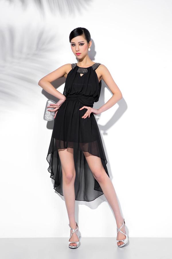 dress เดรสออกงาน สีดำ ผ้าชีฟอง น่ารัก สวยมากๆ จ้า