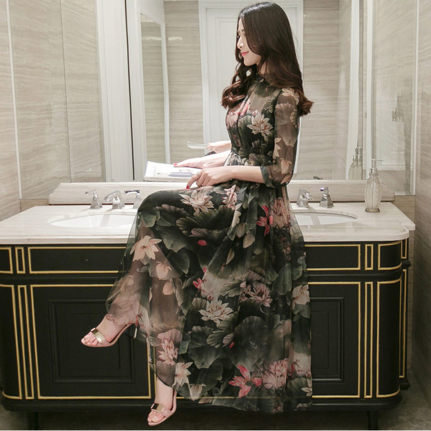 Woman Slim thin collar temperament print dress Three quarter sleevechiffon fluffy wedding party long dress