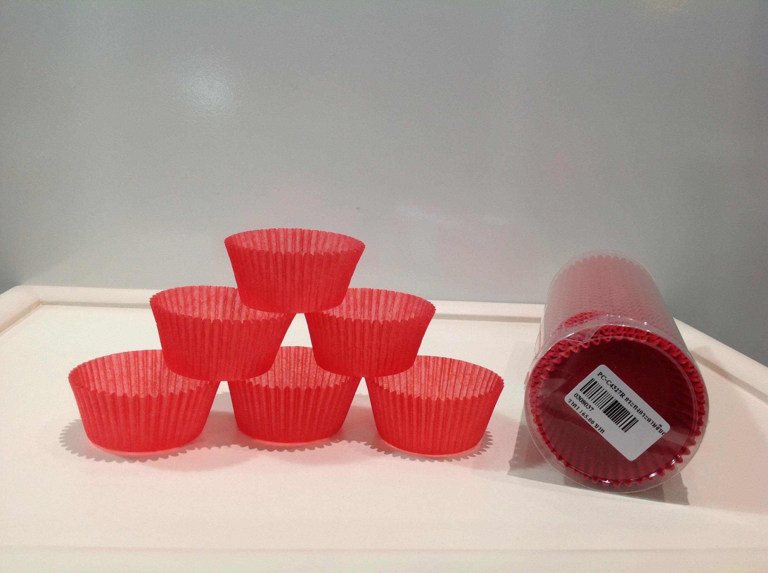 PC-C4327R กระทงกระดาษจีบสีแดง